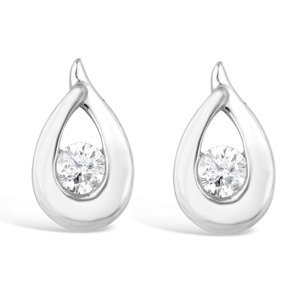 18ct White Gold Diamond Pear Drop Stud Earrings