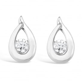 18ct White Gold Diamond Pear Drop Stud Earrings