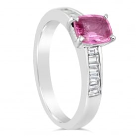 18ct White Gold Diamond & Pink Sapphire Ring