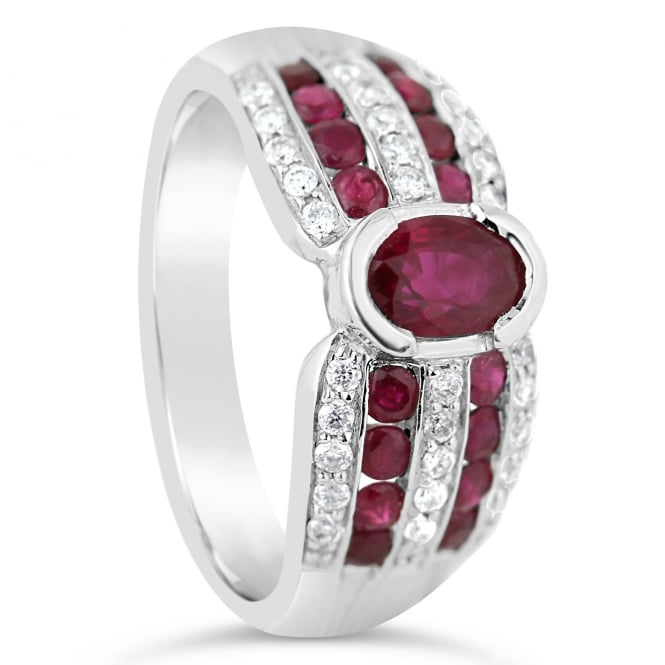 Lance James Jewellery 18ct White Gold Diamond & Ruby Dress Ring