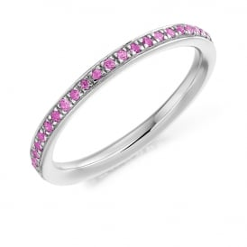 18ct White Gold Fully Set 0.30ct Pink Sapphire Eternity Ring