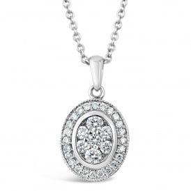 18ct White Gold Oval Cluster Pendant