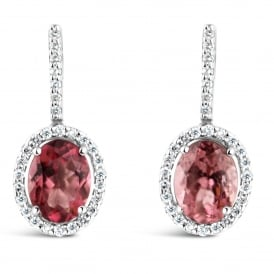 18ct White Gold Pink Tourmaline & Diamond Drop Earrings