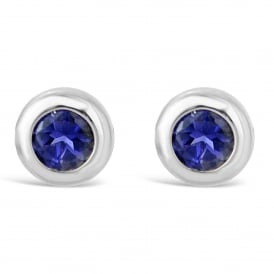 18ct White Gold Round Iolite Stud Earrings