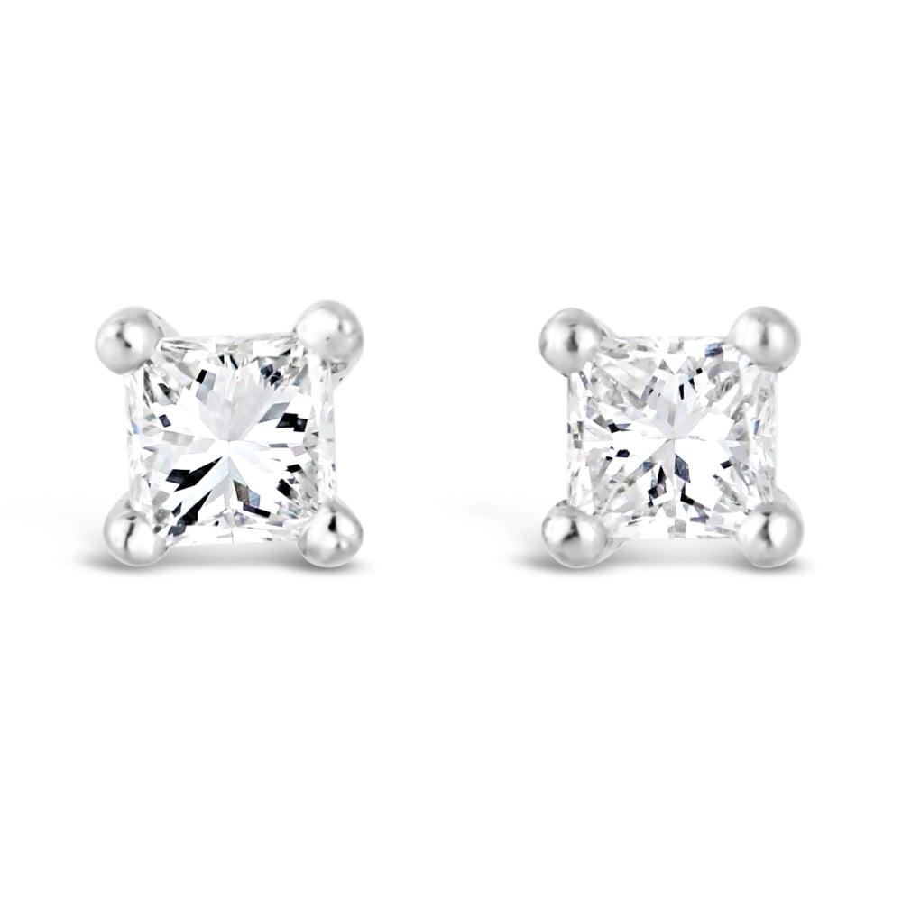 18ct White Gold Square Diamond Stud Earrings