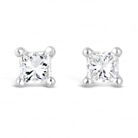 18ct White Gold Square Diamond Stud Earrings