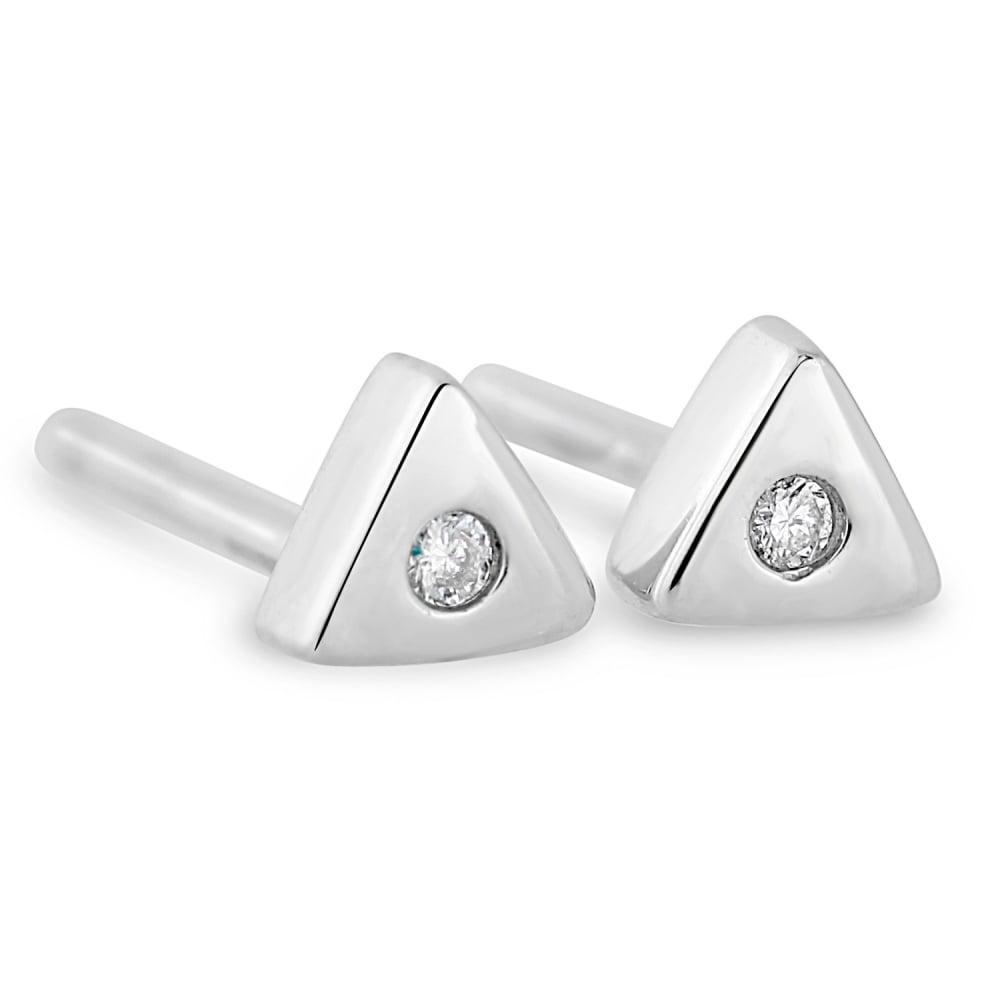 18ct White Gold Triangle Diamond Set Stud Earrings a5b73a01e