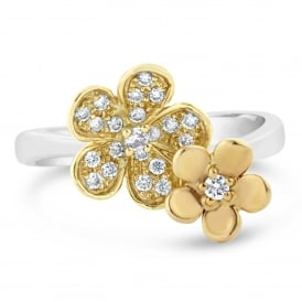 18ct White Yellow & Rose Gold Double Flower Diamond Ring