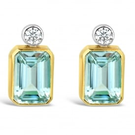 18ct Yellow Gold Aquamarine & Diamond Stud Earrings