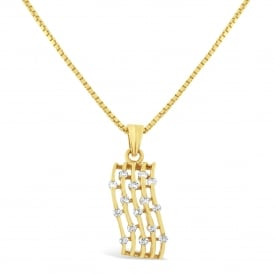 18ct Yellow Gold Curved Diamond Pendant