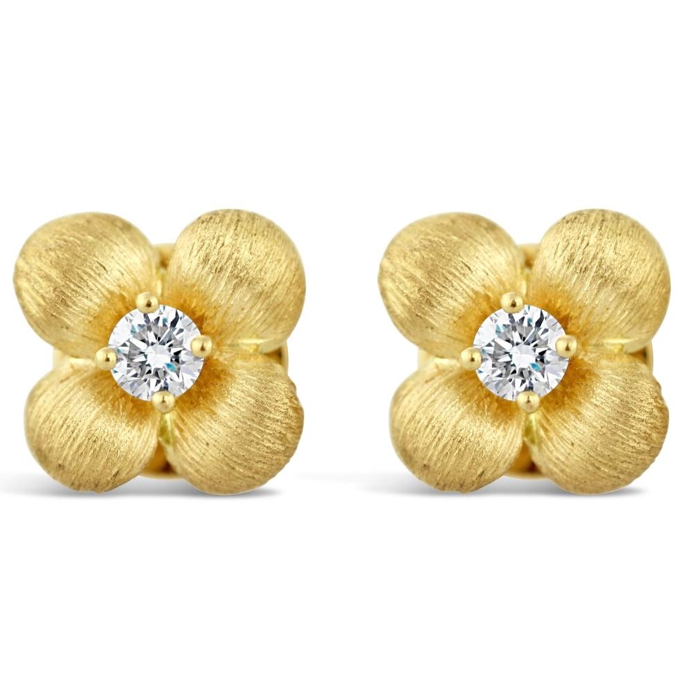 89e219b7aa0001 18ct Yellow Gold Diamond Flower Stud Earrings