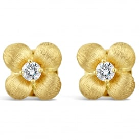 18ct Yellow Gold Diamond Flower Stud Earrings