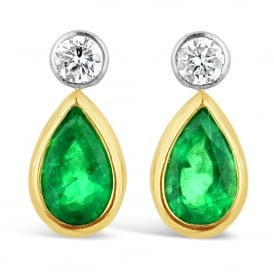 18ct Yellow Gold Emerald Drop Stud Earrings