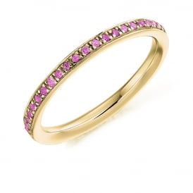18ct Yellow Gold Fully Set 0.30ct Pink Sapphire Eternity Ring