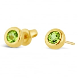 18ct Yellow Gold Round Peridot Stud Earrings