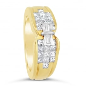 18ct Yellow Gold Square Cut Diamond Bow Ring