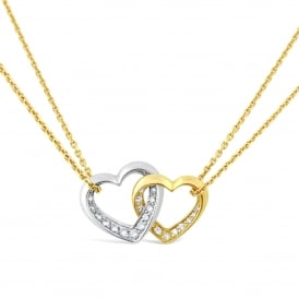 18ct Yellow & White Gold Double Heart Diamond Necklace