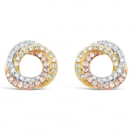 9ct Gold Mixed Metal Diamond Stud Earrings