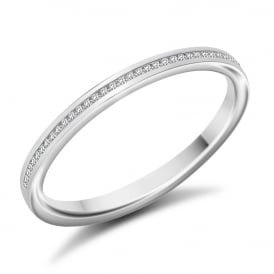 9ct White Gold 0.07ct Channel Set Diamond Ring