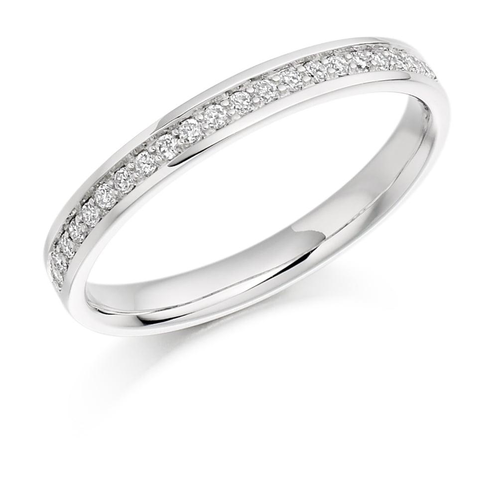 9ct White Gold 0 17ct Half Set Diamond Wedding Ring
