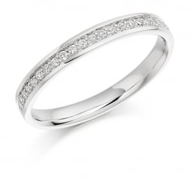 9ct White Gold 0.17ct Half Set Diamond Wedding Ring