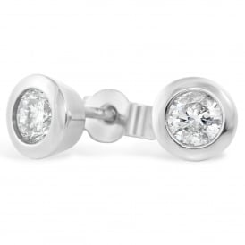 9ct White Gold Brilliant Diamond Stud Earrings