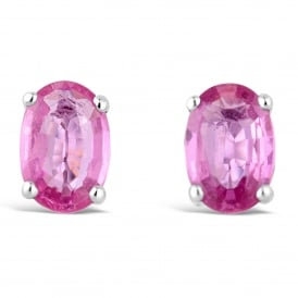 9ct White Gold Oval Pink Sapphire Stud Earrings