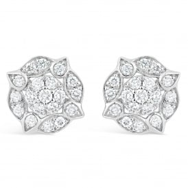 9ct White Gold Vintage Style Diamond Stud Earrings