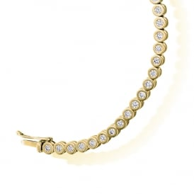 9ct Yellow Gold 2.00ct Rubover Diamond Tennis Bracelet