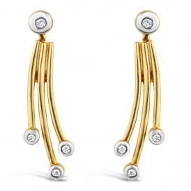 9ct Yellow Gold Drop Diamond Earrings