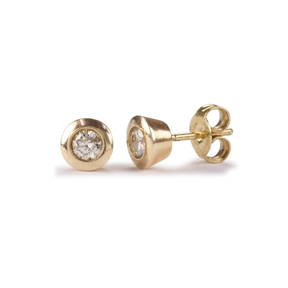 a26c2e6f3 9ct Yellow Gold Rubover Set Diamond Stud Earrings