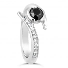 Bespoke Platinum Black & White Diamond Engagement Ring