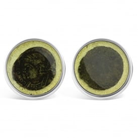 Sterling Silver Resin Set Coin Cufflinks