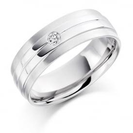 18ct White Gold 0.09ct Single Diamond Wedding Band