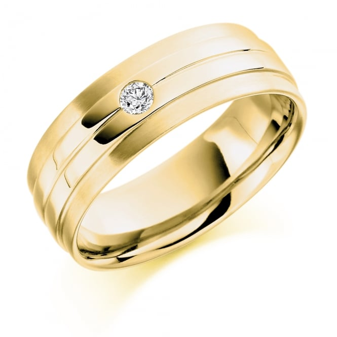 Lance James Wedding 18ct Yellow Gold 0.09ct Single Diamond Wedding Band