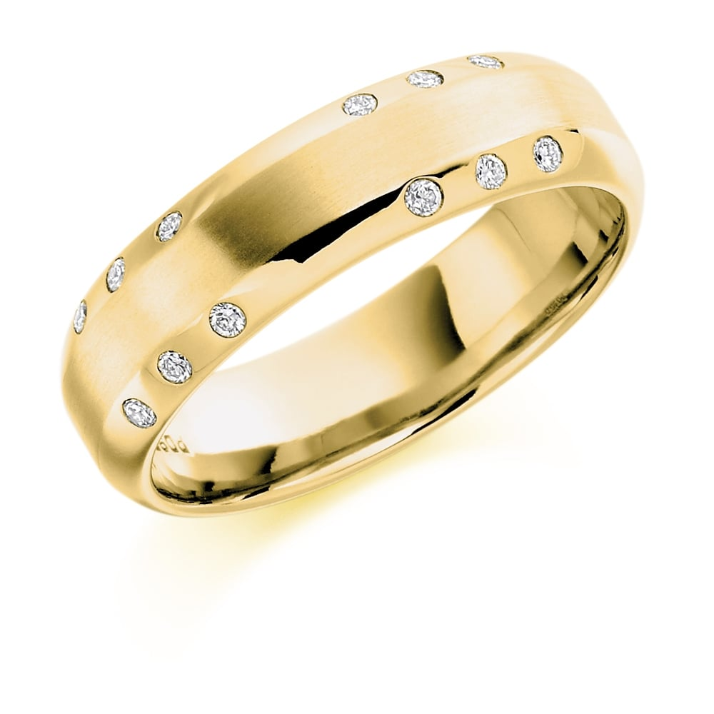 Lance James Wedding 18ct Yellow Gold 0 15ct Diamond Court Wedding Band