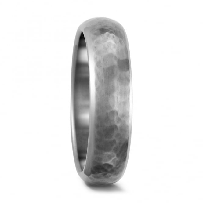 Lance James Wedding 6mm Pure Titanium Hammered Finish Wedding Ring