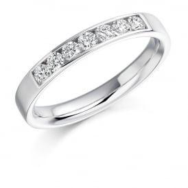 9ct White Gold Channel Set 0.35ct Diamond Wedding Ring