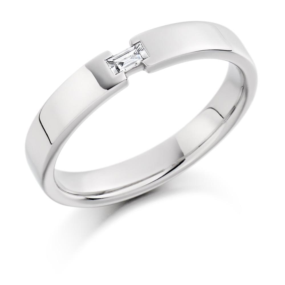 9ct White Gold Single 0 07ct Diamond Wedding Band