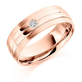 18ct Rose Gold 0.09ct Single Diamond Wedding Band