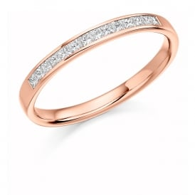18ct Rose Gold 0.20ct Princess Cut Half Set Diamond Ring