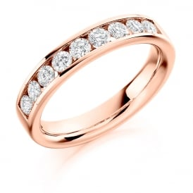 18ct Rose Gold 0.70ct Half Set Diamond Ring