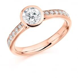 18ct Rose Gold 0.80ct Rubover Engagement Ring