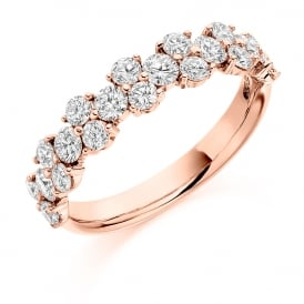18ct Rose Gold Fancy Half Set 1.20ct Diamond Ring