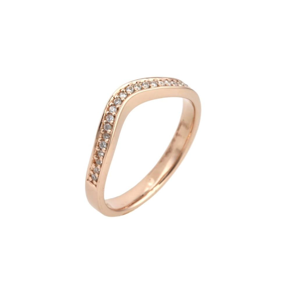 Lance James Wedding & Eternity 18ct Rose Gold U Shaped 0 105ct Diamond  Wedding Ring