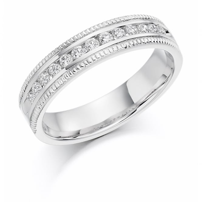 Lance James Wedding & Eternity 18ct White Gold 0.25ct Half Set Milgrain Wedding Ring