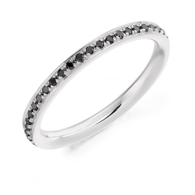 Lance James Wedding & Eternity 18ct White Gold 0.30ct Black Diamond Eternity Ring