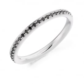 18ct White Gold 0.30ct Black Diamond Eternity Ring