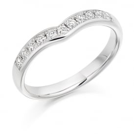 18ct White Gold 0.30ct Shaped Diamond Wedding Ring