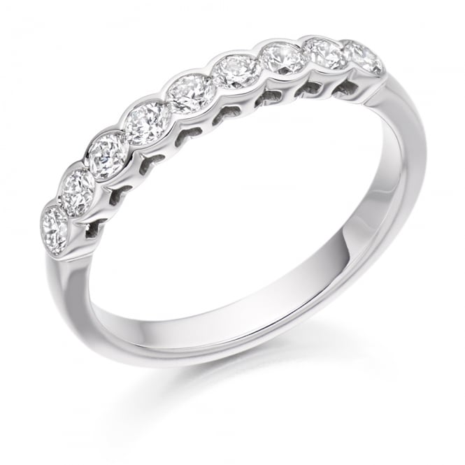 Lance James Wedding & Eternity 18ct White Gold 0.50ct Rubover Set Diamond Ring